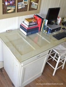 #DIY Desk from cabinets and vintage door @OUATCreation