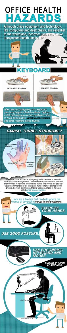 office safety tips Learn how to properly use keyboards and sit in chairs at work to minimize the chances of Carpal Tunnel and other health problems Office Safety, Workplace Safety, Occupational Therapy, Physical Therapy, Health Tips, Health Care, Workplace Wellness, Safety Posters, Carpal Tunnel Syndrome