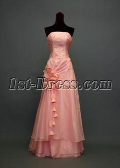 Strapless Neckline Column Full Length Coral Organza Military Ball Dresses With Handmade Flowers Marine Ball Dresses, Military Ball Dresses, Casual Bridesmaid Dresses, Prom Dresses, Formal Dresses, Handmade Flowers, Strapless Dress Formal, Party Dress, Military Party