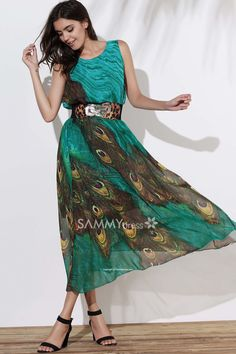 Peacock Feather Print Fashionable Scoop Neck Sleeveless Dress For Women