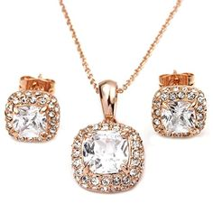 Gnzoe Jewelry Womens Jewelry Sets Square Purple Zirconia Pendant Chain Stud Earrings