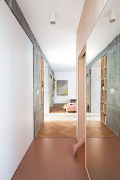 A Brutalist '60s Apartment Gets a Bright and Airy Makeover #dwell #moderndesign #interiordesign #homerenovations Glass Brick, Kitchen And Bath Remodeling, Old Apartments, Oak Hardwood Flooring, Best Architects, Apartment Renovation, White Laminate, Bedroom Doors, Tiny Living