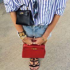 A blogueira italiana Chiara Ferragni combinou duas versões da bolsa Birkin, da Hermès (Foto: Instagram/Reprodução)