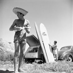 The pioneers of surf trips. Vintage surfing and camping in San Onofre, CA in the Vintage Surfing, Surf Vintage, Retro Surf, Vintage Trucks, Poster Surf, Surf Posters, Surfing Photos, California Surf, Vintage California
