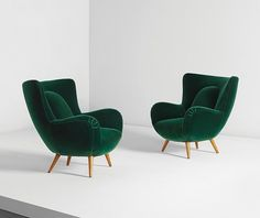 Seating - Carlo Mollino, Pair of armchairs, designed for Acotto House, Turin Comfy Armchair, Green Armchair, Living Room Chairs, Living Room Decor, Lounge Chairs, Side Chairs, Dining Chairs, Retro Living Rooms, Decor Room