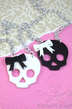 SPOOKY CUTE - Cute Girly Skull Charm Necklace with Bow in Black and White Laser Cut Acrylic on Etsy, $18.93 CAD