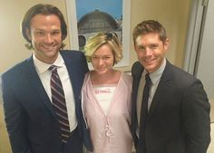 """j2 with Guest Star Crystal Allen on  #SPN  set S12.E07 """"Rock Never Dies """"  Repost from @Crystalallen13: """"I guest star on @cw_supernatural tonight 9PM with my favorite guys! @jaredpadalecki & @jensenackles #supernatural @supernatural #cw_supernatural @thec"""