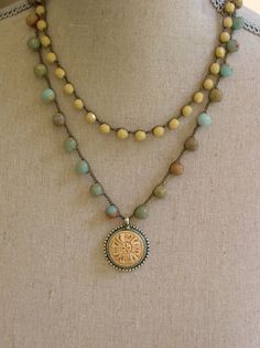 Crochet necklace two strand pendant necklace by 3DivasStudio