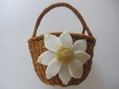 Flower Girl Basket Wedding Ivory Gold dahlia choose your colors #flowergirlbasket by ArtisanFeltStudio on Etsy, $25.00