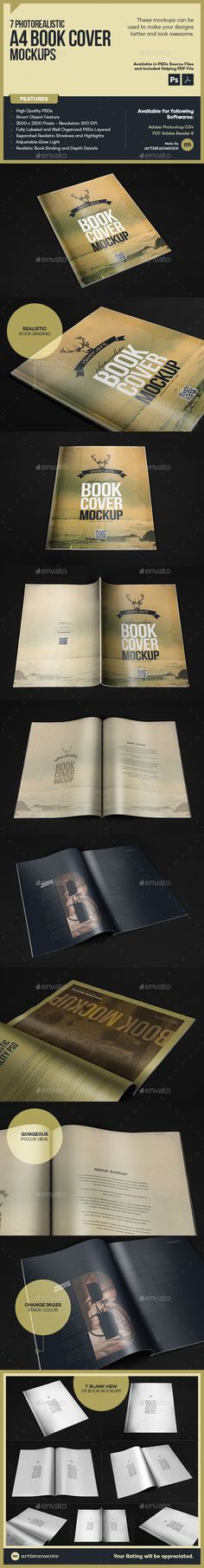 Photorealistic Book Mock-Up by artistamente PHOTOREALISTIC A4 BOOK COVER MOCKUPSMaking things More interesting and in effort to make your projects the best out there, artist