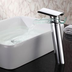 Waterfall Glass Spout Chrome Finish Bathroom Sink Faucet -- Faucetsmall.com Cheap Bathrooms, Amazing Bathrooms, Best Bathroom Faucets, Modern Traditional, Chrome Finish, Waterfall, Interior Decorating, It Is Finished, Glass