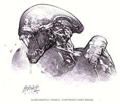 Alien sketch, in Andy Brase's Pencil work & sketches Comic Art Gallery Room Alien Vs Predator, Predator Alien, Xenomorph, Giger Alien, Alien Drawings, Alien Concept Art, Grafiti, Alien Art, Alien Pics