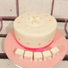 Christening cake for Emily, red velvet cake.
