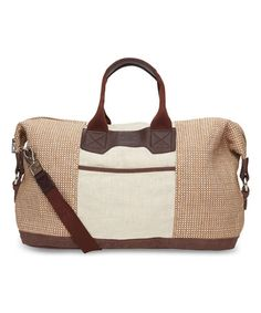 Another great find on #zulily! Taupe & Brown Woven Duffel Bag #zulilyfinds