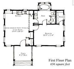 First Floor Plan of Country   Historic   House Plan 73894