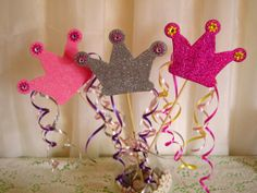 3 Glitter Crown Spikes Princess party by FunburstPartyandGift, $8.00 - would be easy to make