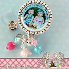 Photo badge reel comes embellished with coordinating beads(may vary slightly). It also includes a footprint charm or medical symbol charm. If