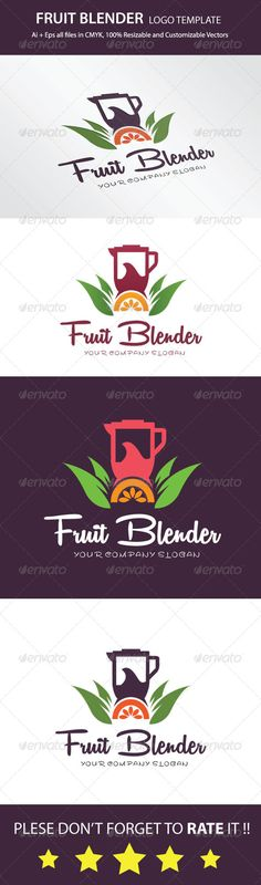 Fruit Blender Logo Template — Vector EPS #print #vector • Available here → https://graphicriver.net/item/fruit-blender-logo-template/7827480?ref=pxcr