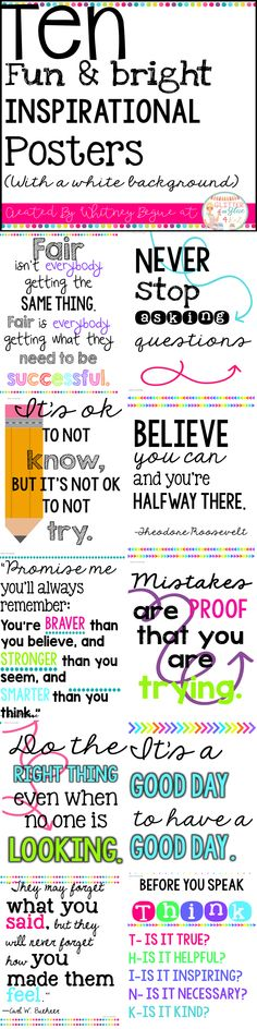 Looking for something inspirational to brighten up your classroom? These posters include ten of my favorite classroom quotes. Easy, inexpensive, and a fun way to decorate your classroom! Keywords: shiplap, farmhouse classroom, burlap, watercolor, teachers, chalk theme classroom, neons, bright color classroom, classroom inspiration, inspirational quotes, positive classroom, growth mindset, neon classroom, bright colors #MindsetSayings