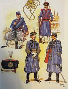 Papal Zouaves 1860's 1. Service uniform 2. Parade uniform 3. Lieutenant I parade uniform  4. Captain with hooded jacket (Caban)