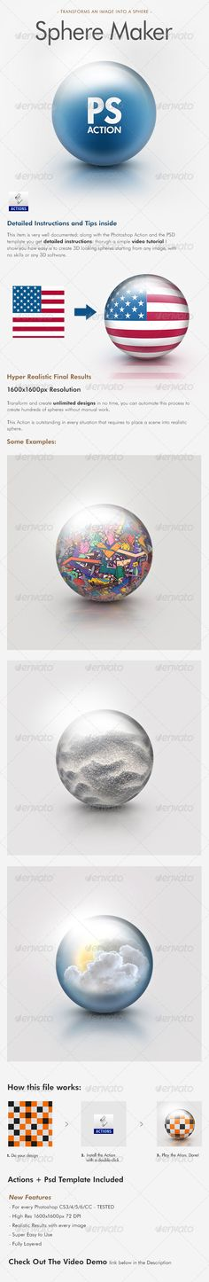 Buy Sphere Maker Photoshop Action by Giallo on GraphicRiver. Transform Every Image into a Sphere With this PS Action If the Action doesn't work there's a template inside that you. Photoshop Script, 3d Photoshop, Best Photoshop Actions, Effects Photoshop, Photoshop Illustrator, Photoshop Elements, Photoshop Tutorial, Image Editing, Photo Editing