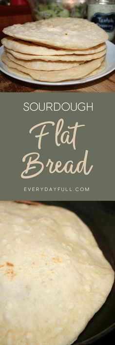 SOURDOUGH FLAT BREAD WRAPS - These sourdough wraps will make any sandwich better. Stuff it with your favorite filling and dig in. If you love gyros, you'll love this flat bread. Perfect for breakfast burritos, lunch wraps or tacos for dinner. Bread Machine Recipes, Bread Recipes, Cooking Recipes, Starter Recipes, Spelt Recipes, Chickpea Recipes, Carrot Recipes, Lentil Recipes, Cabbage Recipes