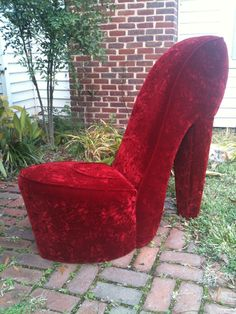 Handmade Solid Red High Heel Shoe Chair #heels #high heel shoes