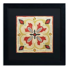 """Trademark Art 'Bohemian Rooster Tile Square III' by Daphne Brissonnet Framed Painting Print Size: 16"""" H x 16"""" W, Matte Color: Black"""
