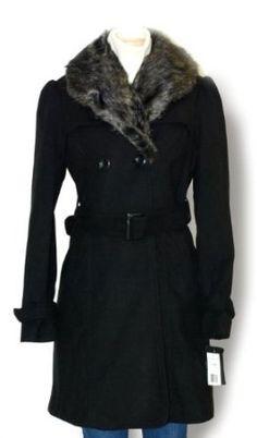 Faux Wool Plush Coat W/removable Fur Size Large