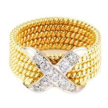 Diamond 'X' Ring in 18KT Yellow and White Gold.  $895