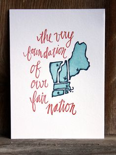 New England Letterpress Art Print  State series by 1canoe2 on Etsy, $16.00
