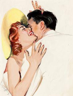 Jim Schaeffing: Pin Up and Cartoon Girls Romance Vintage, Romance Arte, Vintage Love, Vintage Art, Fantasy Romance, Couple Painting, Couple Art, Art And Illustration, Estilo Pin Up