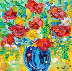Original oil painting Spring Flowers still life abstract impressionism fine art impasto on canvas by Karen Tarlton