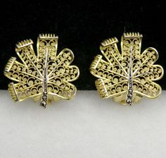 Vintage Alice Caviness Germany Sterling Gold Wash Sterling Marcasite Earrings | eBay