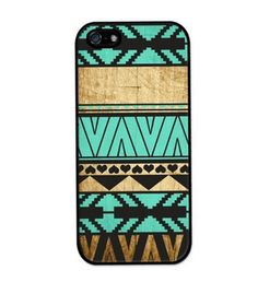 PolyCarbonate Hard Case for iPhone 6/6S in a Turquoise and Black Geometric and Wood design.