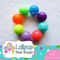 NEON Beads 20mm Beads Acrylic Plastic Round Chunky Beads Bright Colorful Gumball Beads Bubblegum Beads Bubble Gum Beads 10 ct YOU PICK COLOR by LollipopBeadShoppe, $3.50