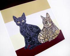 Cat Zentangle Art Print  Cat Portrait  Archival  by MayhemHere, $25.00