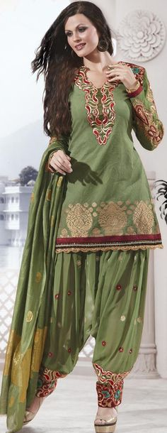 $79.30 Green Full Sleeve Banarasi Silk Short Designer Salwar Kameez 18850