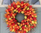 """orange red yellow 18"""" tulip Wreath 45.00 @ ETSY"""