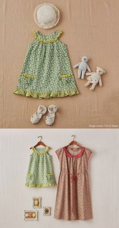 Free sewing pattern for toddler dress with link to another dress.this is a translated Japanese pattern and does not include seam allowances in the pattern Sewing Kids Clothes, Sewing For Kids, Baby Sewing, Sewing Pants, Doll Clothes, Sewing Patterns Free, Free Sewing, Clothing Patterns, Free Pattern