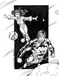 Phantom Girl and Ultra Boy of the Legion of Super-Heroes by Marat Mychael #UltraBoy #JoNah #PhantomGirl #TinyaWazzo #LoSH #LegionofSuperHeroes   #MaratMychael
