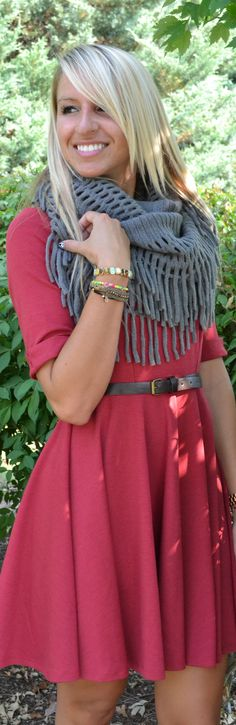 Piace Boutique - Shirley Dress $52 with infinity scarf for fall