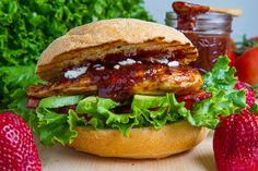 Strawberry BBQ Chicken Club Sandwich