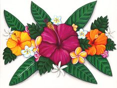 Stephanie Boinay enjoys capturing the energy of Aloha to share with others through her bright & happy paintings. Hawaii Flower Tattoos, Hawaii Flowers Drawing, Hawaiian Art, Hawaiian Flowers, Turtle Painting, Dot Painting, Oil Pastel Drawings, Art Drawings, Bright Colorful Tattoos
