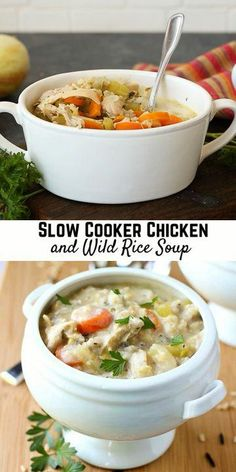 This slow cooker creamy chicken and wild rice soup will be the star of your winter cuisine! Perfect for chilly days. I've been using my slow cooker more than I care to admit. But actually I use that baby all year round. In the winter, it creates irresistible comfort foods. In the summer, it cooks dinner without heating up your house. This slow cooker soup really couldn't be easier to make. You just throw all the ingredients (except the cream) into the slow cooker and let it work its magic. Slow Cooker Creamy Chicken, Slow Cooker Soup, Chicken And Wild Rice, Wild Rice Soup, Crockpot Recipes, Chicken Recipes, Have Time, Dinner, Comfort Foods