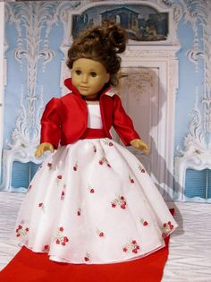 Beautiful Christmas Gown with Red Jacket and by Tinyworldcreations