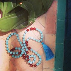 #summeriscoming #sandals #girlsbestfriends #jewelry #mala #marocco #maladeluxe #pool #colors #amazonite #turquoise