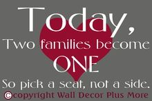 Wedding Decal Stickers for a 20x30 board - Pick a seat, not a side