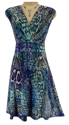XL X-LARGE SEXY Womens BLUE SNAKESKIN PRINT DRESS Stretch Spring Summer Vacation #JonathanMartin #Sundress #Versatile