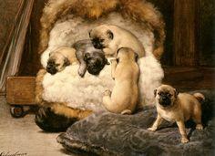 Nest of Young Mastiffs by Henriëtte Ronner-Knip (Dutch 1821 - 1909)